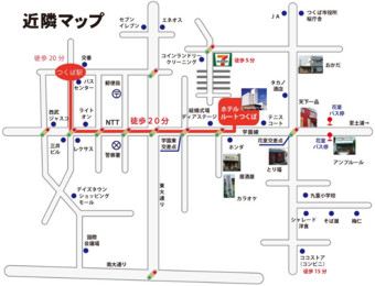 Map around Hotel Route Tsukuba